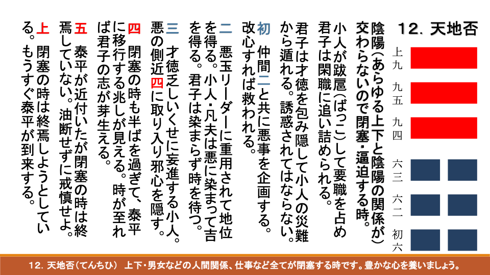 易経ワンコイン講座15 天地否(てんちひ)